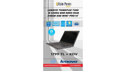 2.El Lenovo Thinkpad T450 İ5 5300U 8 GB DDR3 RAM 240 GB SSD WIN7 PRO 14''